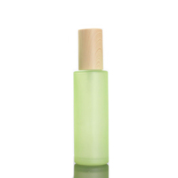 Hengjian 20g 30g 50g 20ml 30ml 40ml 60ml 80ml 100ml 120ml matt green glass bamboo cap spray bottle for cosmetic bottle