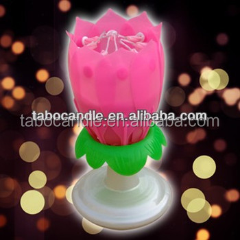 Sparkling Flower Musical Birthday Candle For Party