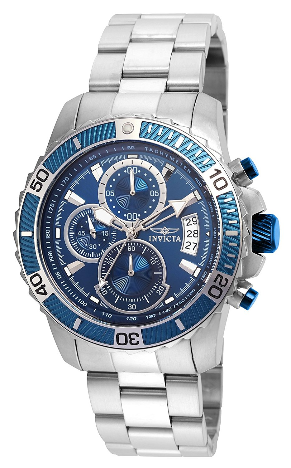 Invicta Men's 'Pro Diver' Quartz Stainless Steel Casual Watch, Color:Silver-Toned (Model: 22413)