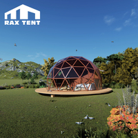 6m dome geodesic 4 season wooden color glass igloo