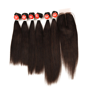 New Year Gifts Wholesale Brazilian Straight Human Hair 7 Pieces One Pack Solution