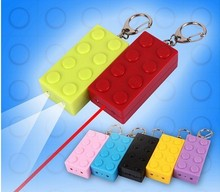 Wholesale 2015 New LED Plastic Lego Keychains with Laser Pointer Keyrings Gifts for Kids
