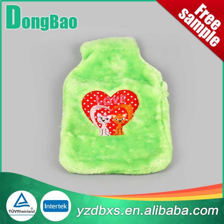 cute and cheap standard natural rubber Hot Water Bottle With Red Hearts plush cover