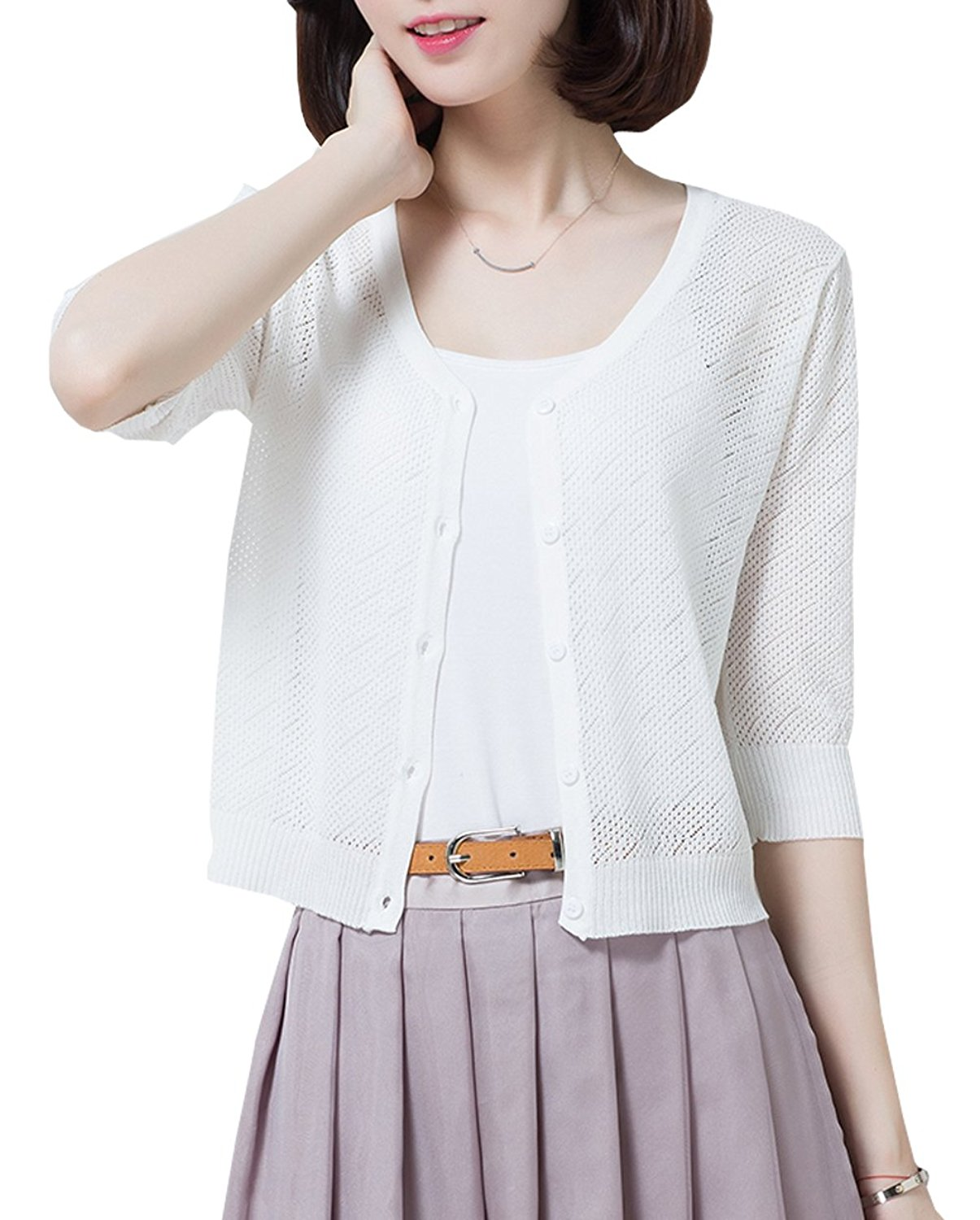 a38d4316d7 Get Quotations · NianEr Summer V Neck Short Cardigans for Women Button up  Knit 3 4 Sleeve Cropped Cardigan