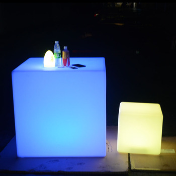 led cocktail bar table 40x40x40 plastic cube stool  led light cube seat chair lighting