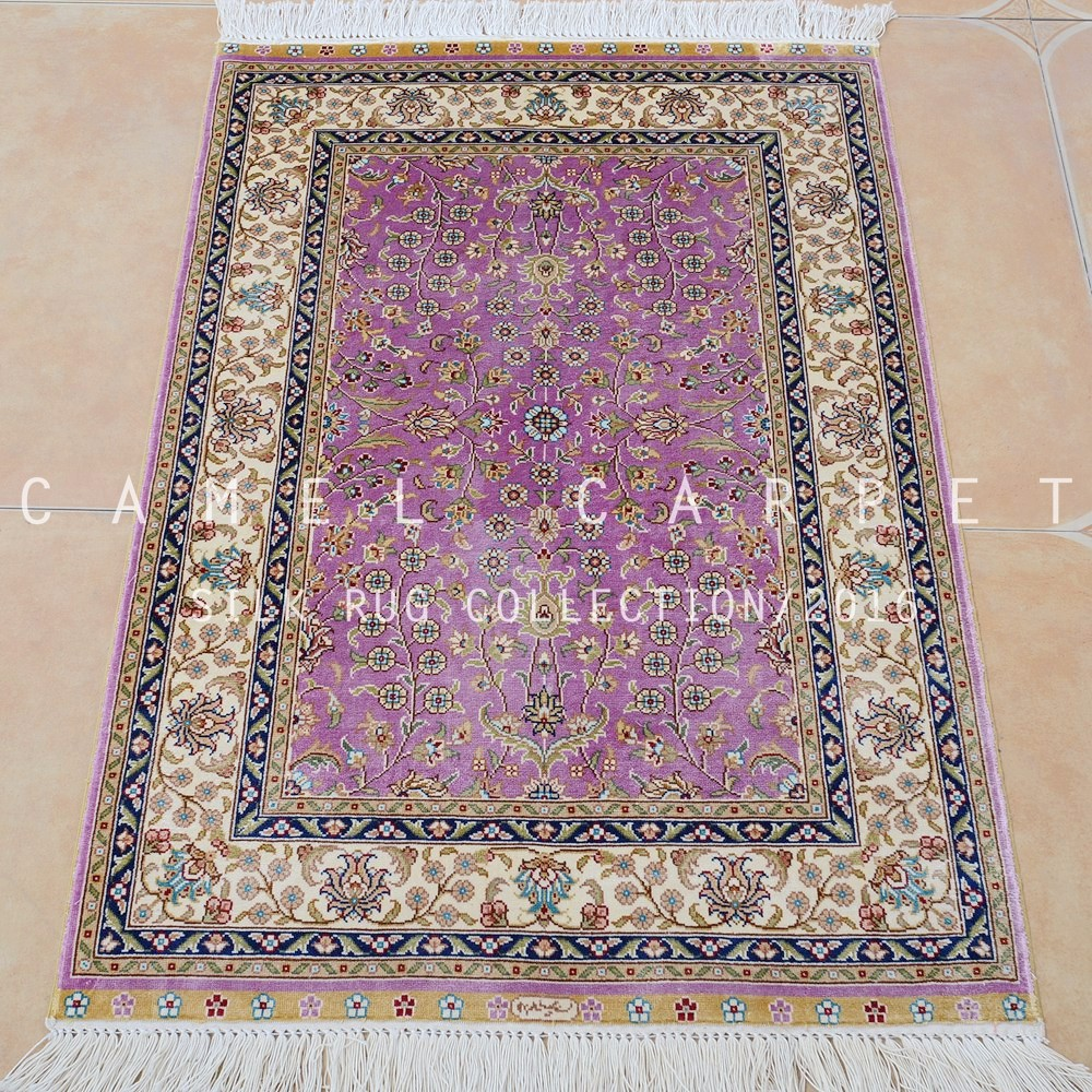 Small Pink Rug Area Hand Woven Silk Turkish Hand Made