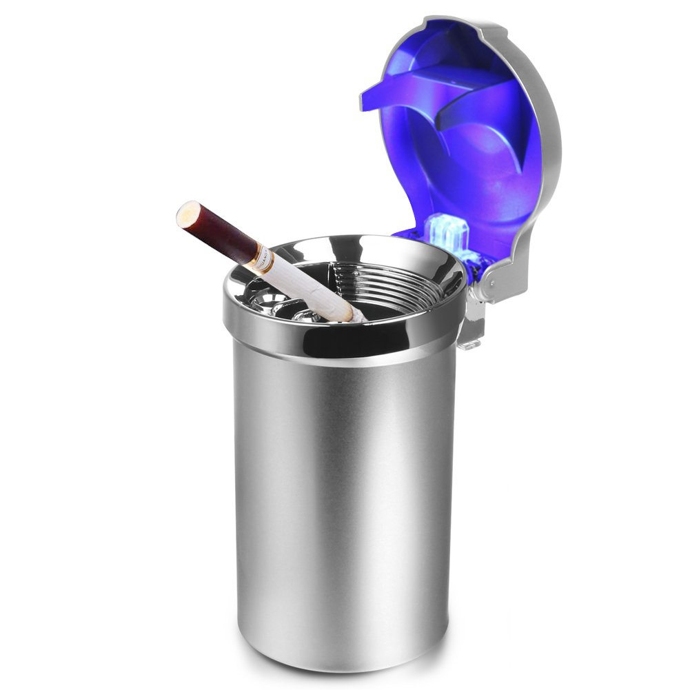 Mr. Car Ashtray | Portable Travel Car Cigarette Holder with Blue LED Light Indicator Lid | Sturdy ABS Material Battery Operated Cylinder Smokeless Vehicle Ashtray | Silver | 661.3