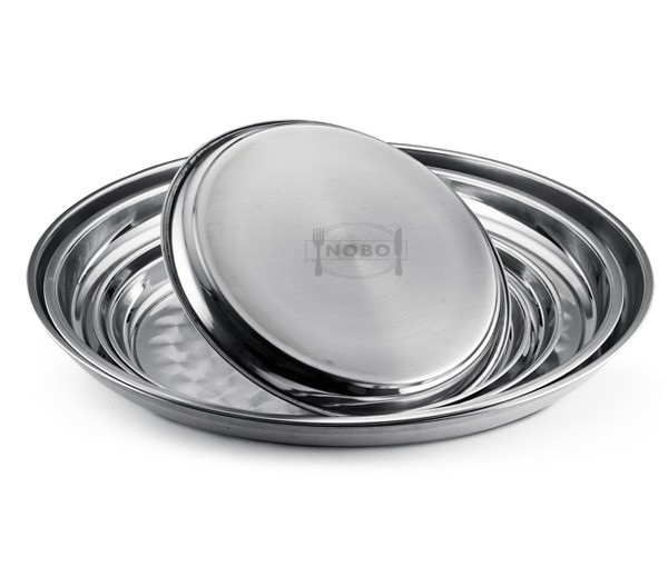 Mini and large Thai stainless steel round plate with Scales pattern