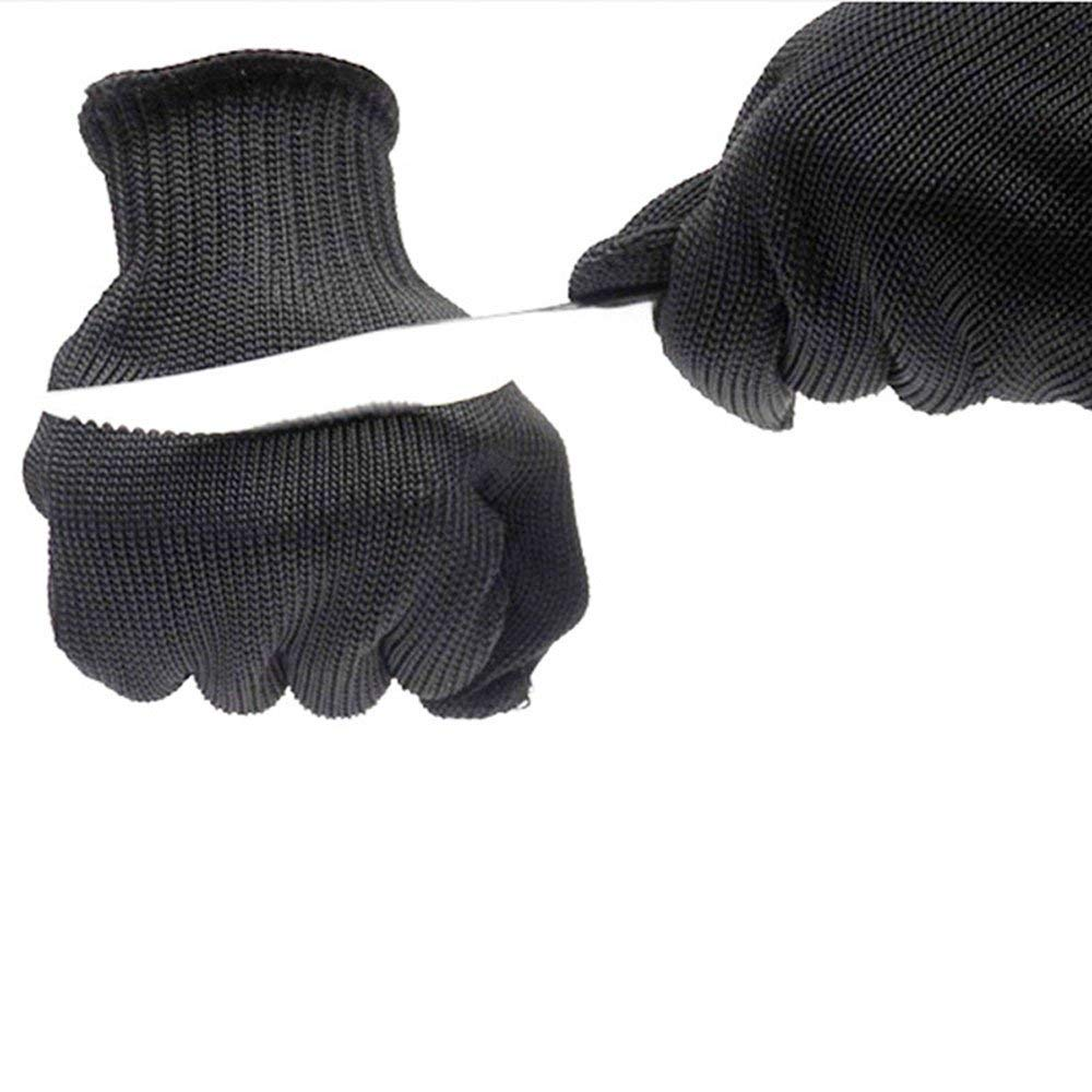 Cut Resistant Gloves Level 5 Stainless Steel Wire Mesh Protection Anti-cut Gloves Safety Work Gloves Anti-Slash Resistant Cut Cutting Slicing Grating Carving Protection Safety Gloves (Black)