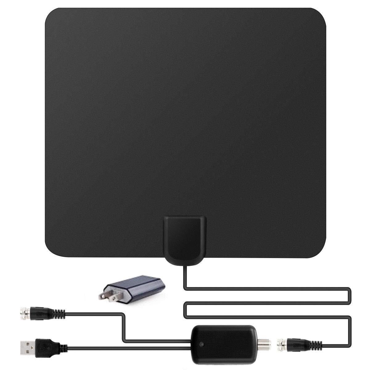 FidgetFidget 50 Miles Range Flat HD Digital Indoor Amplified TV Antenna Amplifier{Plug: US Plug}