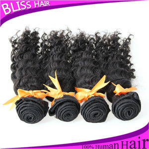 Cheap curly brazilian virgin hair, human hair extensions top quality AAA natural color #1b deep curly virgin hair wave
