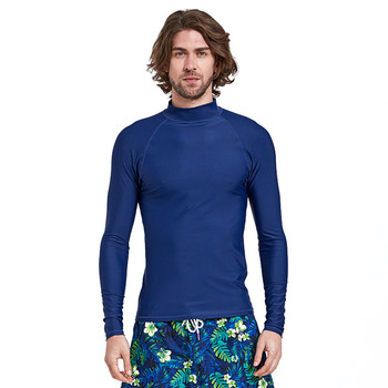 Wholesale Mens Blank Design Long Sleeves Rush Guard Surf Lycra Fabric Shirt Breathable Wetsuit Top