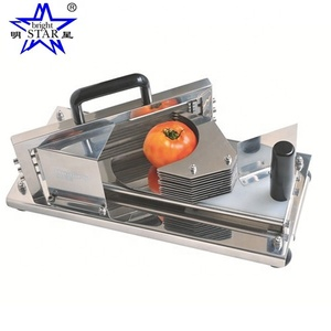 Commercial Grade All Stainless Steel Tomato Slicer with Built In Cutting Board Saefty Feet and Hand Guard, 3/16-Inch / 4mm Slice
