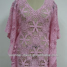 Wholesale pink cotton crochet tops plus size