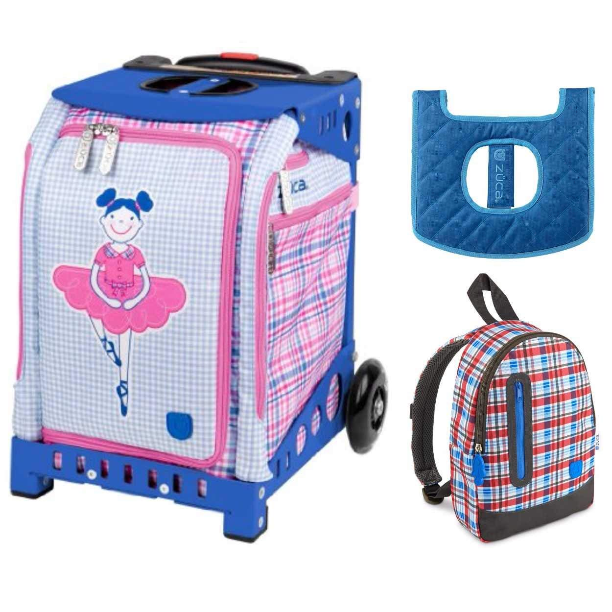 Get Quotations · ZUCA Kids039  Mini Ballerina Bag Blue Frame + Backpack and  Seat Cushion 9ebb77459581a