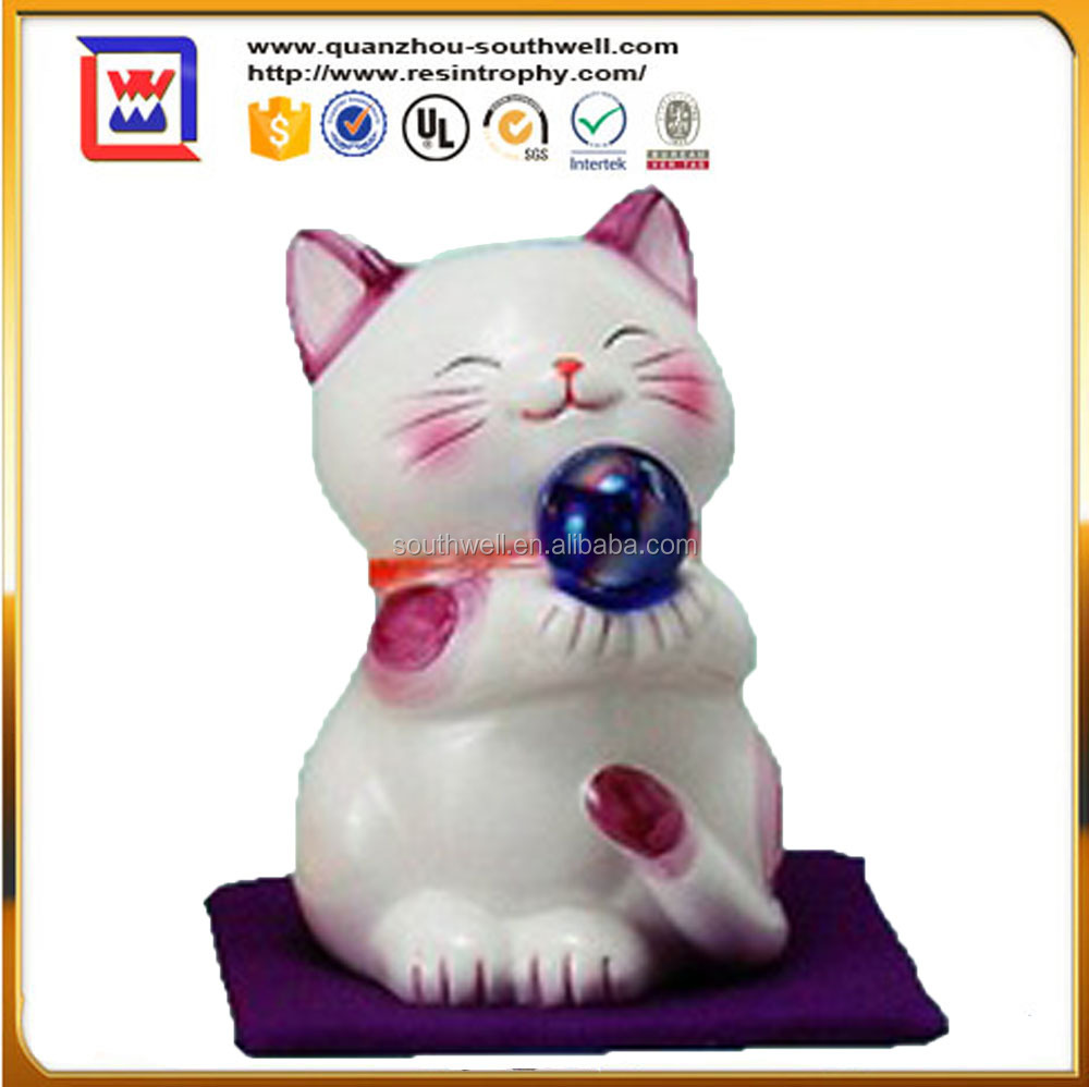 Japanese Lucky Maneki Neko Waving Paw Hand Beckon Cat and creamic fortune cat