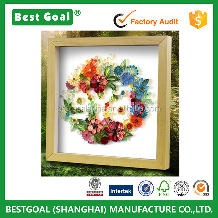 Fervency flower printed square 3d shadow box frame