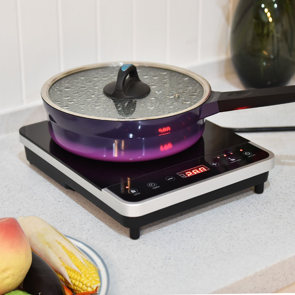 Costway Digital 1800W Induction Cooktop Countertop Burner,Electric Single Burner Hot Plate Cooktop Countertop with Timer,Temperature,Black (1)