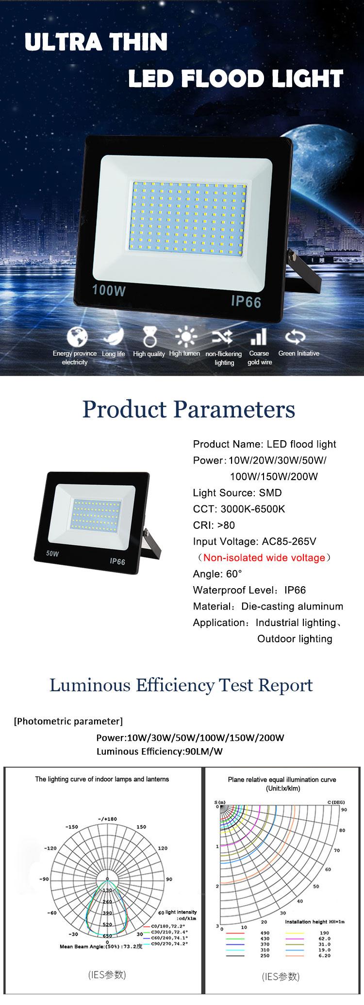 Ultra thin IP66 Waterproof Outdoor 30W 50W 100W 200W Led Flood Light
