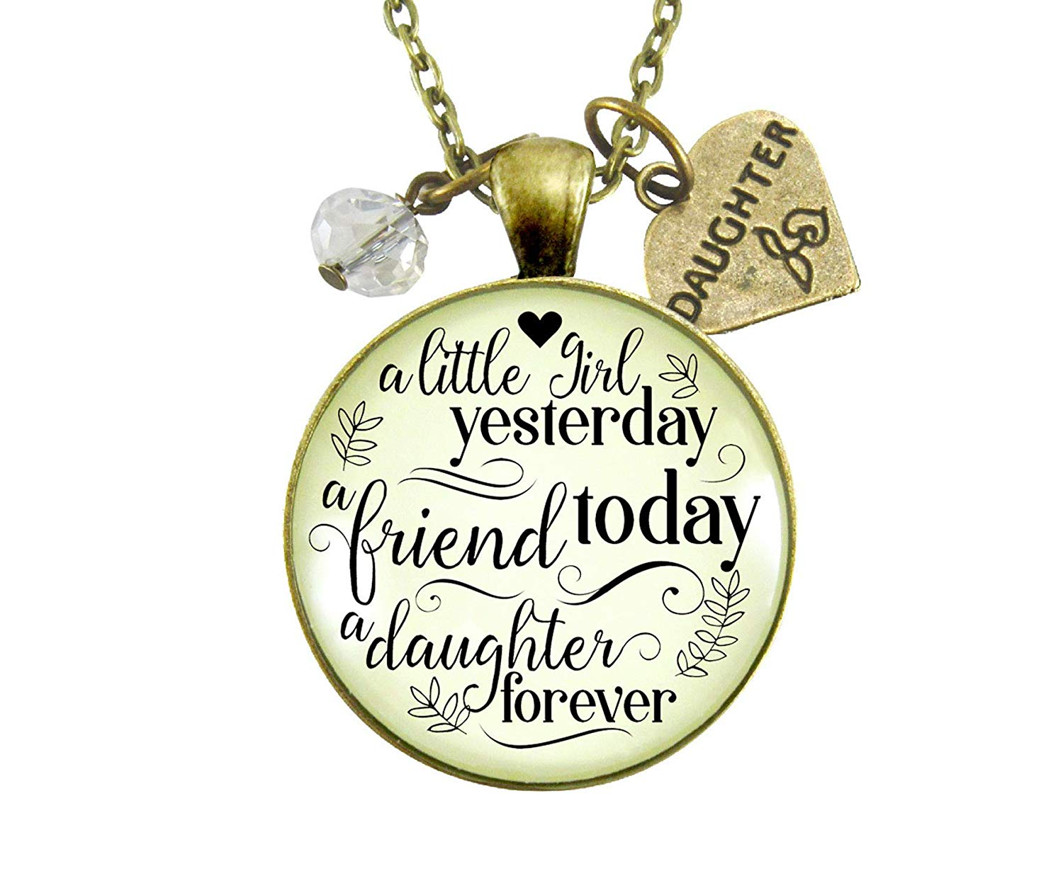 """36"""" A Little Girl Yesterday To My Daughter Necklace Inpirational Friendship Keepsake Jewelry From Mom Gift Card"""