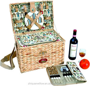 bulrush storage basket with cooler bag and wicker wine holder in China on sale