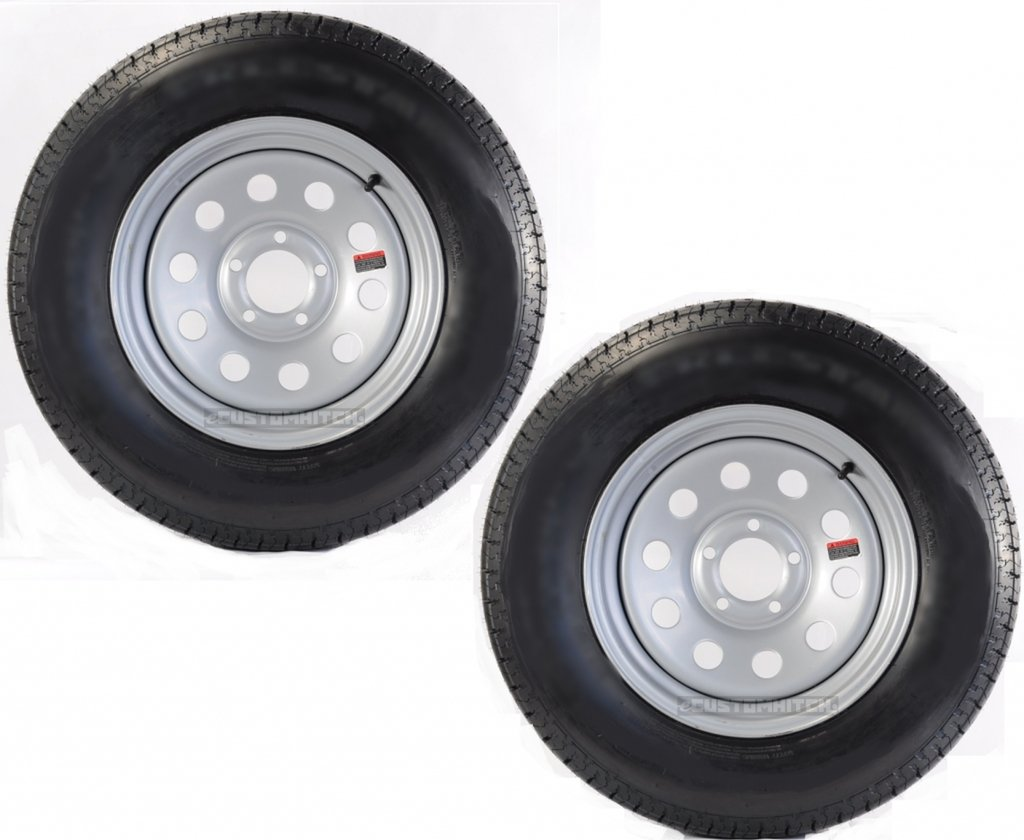 eCustomRim 2-Pk Trailer Wheel & Tire #446 ST205/75D15 205/75 C Bias 5 Hole Modular Silver