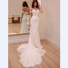 Latest White Mermaid Off Shoulder Long Bridal Wedding Dresses Gowns