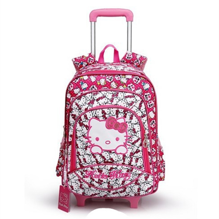 New Children Removable Wheel Trolley Luggage Girls Hello Kitty School Bags  With Wheels Kids Cute Rolling d051438fb0e53