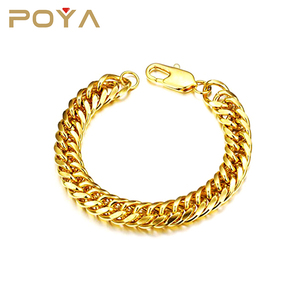 POYA Jewelry Cheap 19-22cm 18K Gold Chunky Link Chain Bracelet