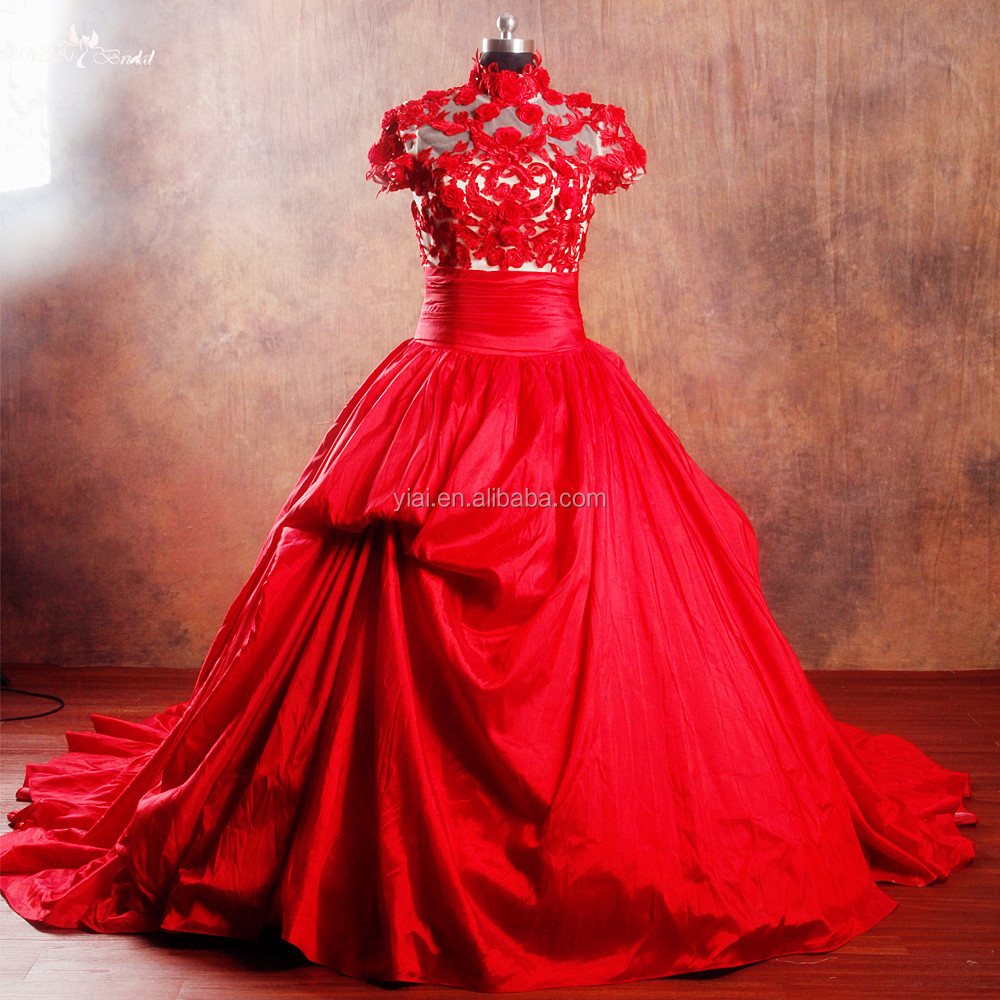 RSW960 Wholesale Elegant Ball Gown Short Sleeve Red Indian Pakistani Bridal Dresses