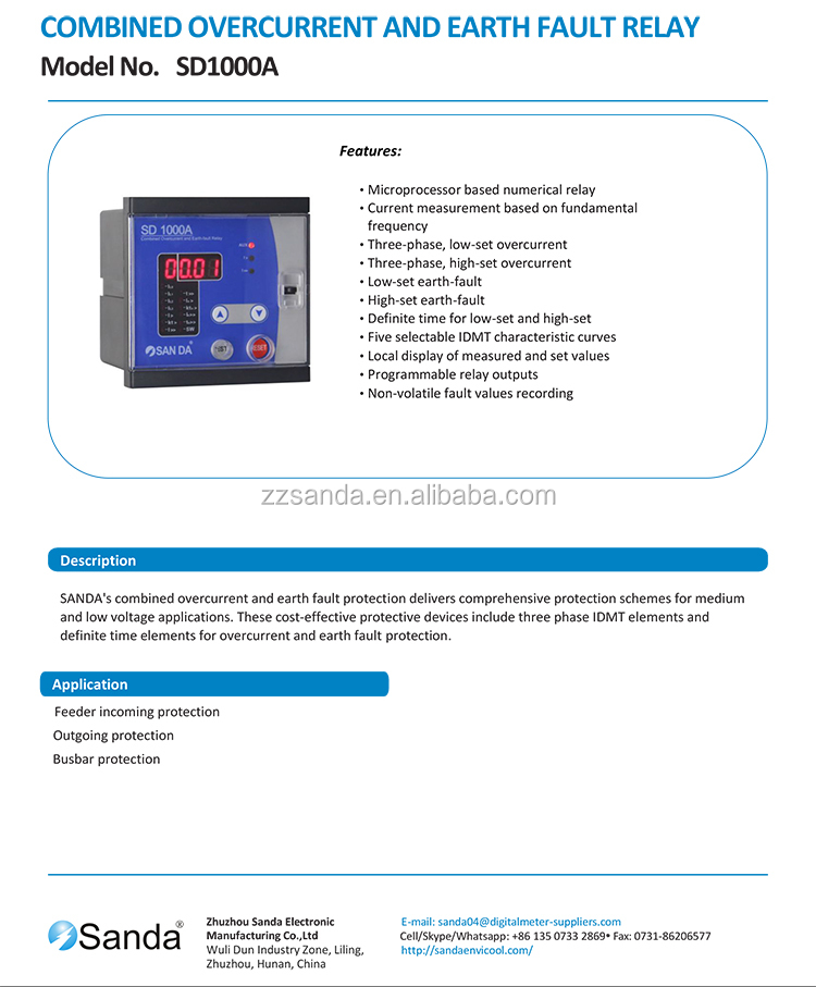Sanda Over Current Earth Fault Relays - Buy Digital Over Current  Relay,Electronic Over Current Relay,Over Current & Earth Fault Relays  Product on