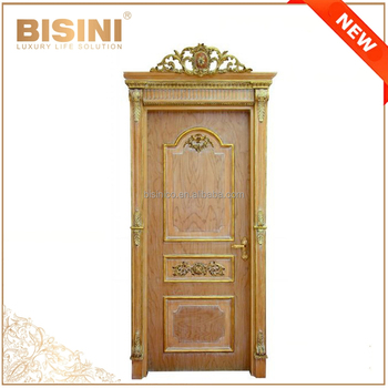 French Baroque Style Wooden Carved Single Interior Door Pale Wash