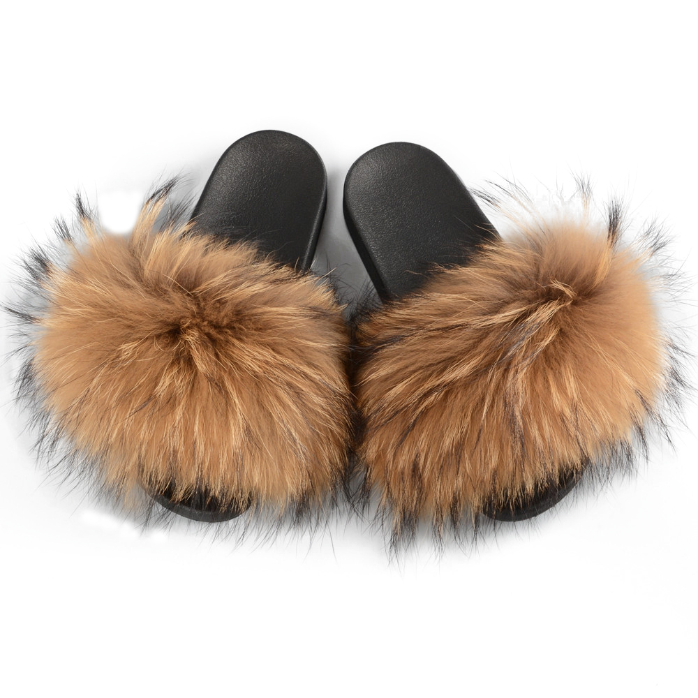 Stable Quality Raccoon Fur Soft Sandals Wholesale Women Slippers Natural Color Fur Slides, Customized color