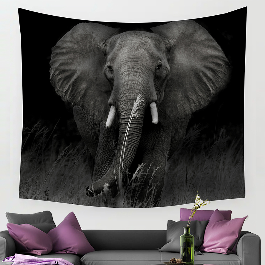 Custom Digital Printing Elephant Printed Cartoon Style  Wall Tapestry
