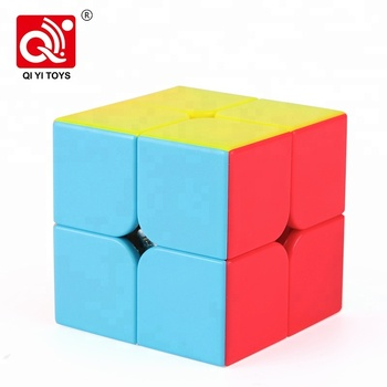 Qidi colorful 51mm 2x2 stickerless plastic puzzle cube for intelligence