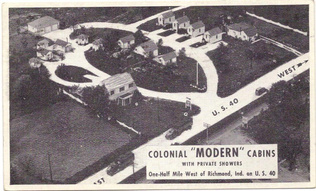 1940s Vintage Postcard - Colonial Modern Cabins (on U.S. 40) - Richmond Indiana