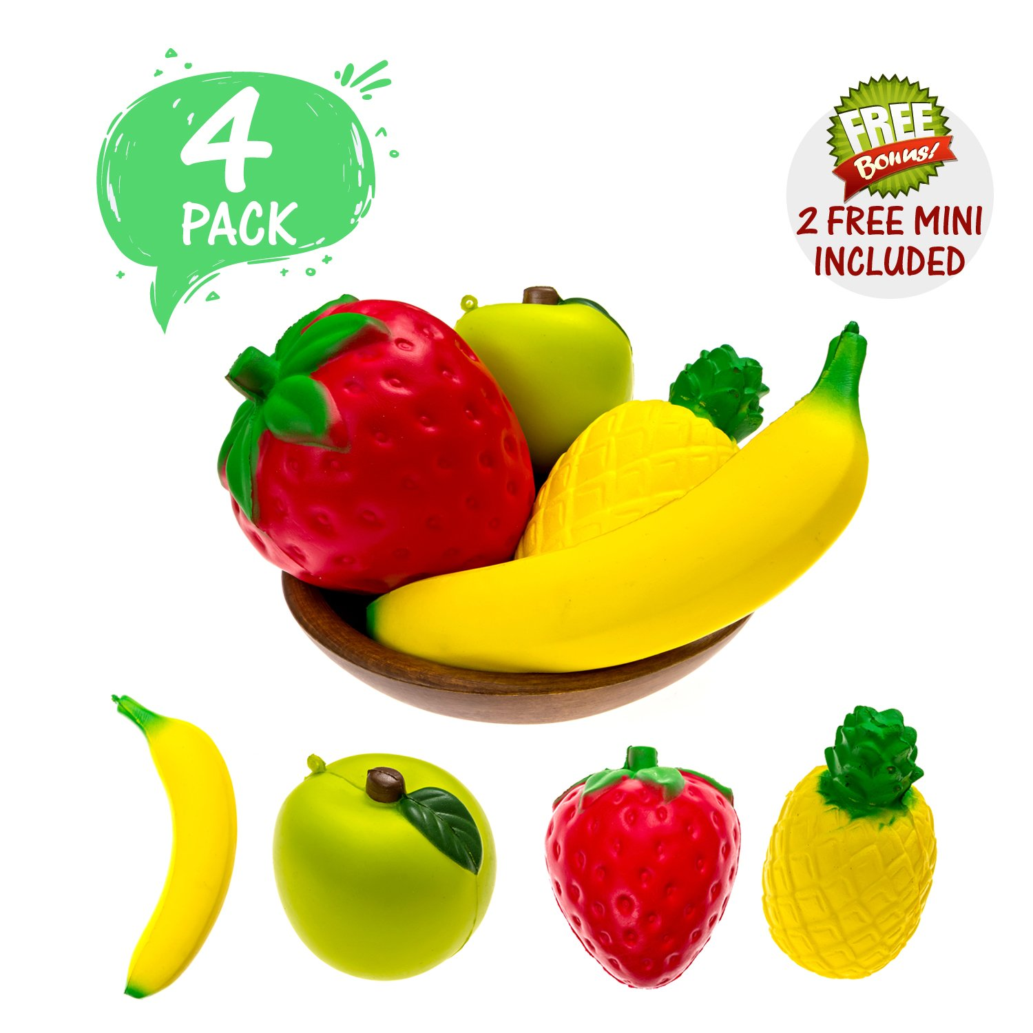 Ultimate Squishies 4 PACK Fruit Squishies Squishy Slow Rising Kawaii Prime Banana Pineapple Apple Strawberry Scented Stress Relieve Adults and Kids BONUS 2 FREE MINI SQUISHIES