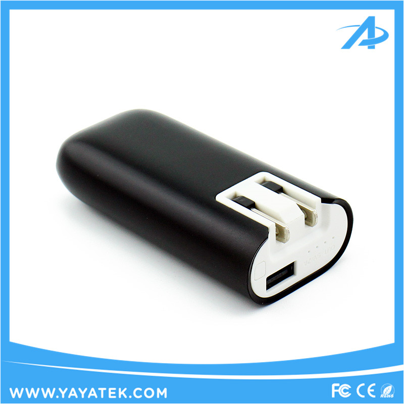 4400mah Portable Power Bank with Ac Wall Charger Plug Cable-free Input Charging