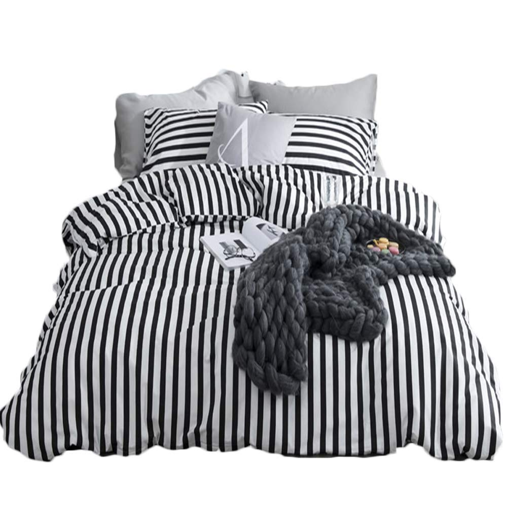 Bedding & Slumber Bags Kids' Furniture, Décor & Storage karever Black White Striped Duvet Cover Queen Vertical Ticking Stripe Bedding Full 3 PCs Cotton Comforter Cover Set for Boys Girls