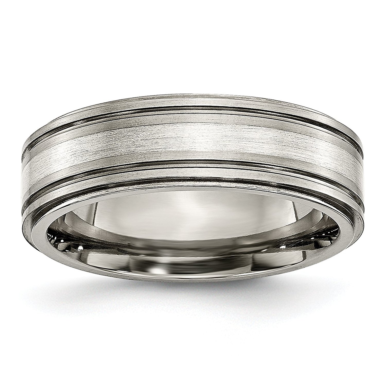 Titanium Grooved Ridged Edge 8mm Brushed and Polished Band Size 10.5 Length Width 8