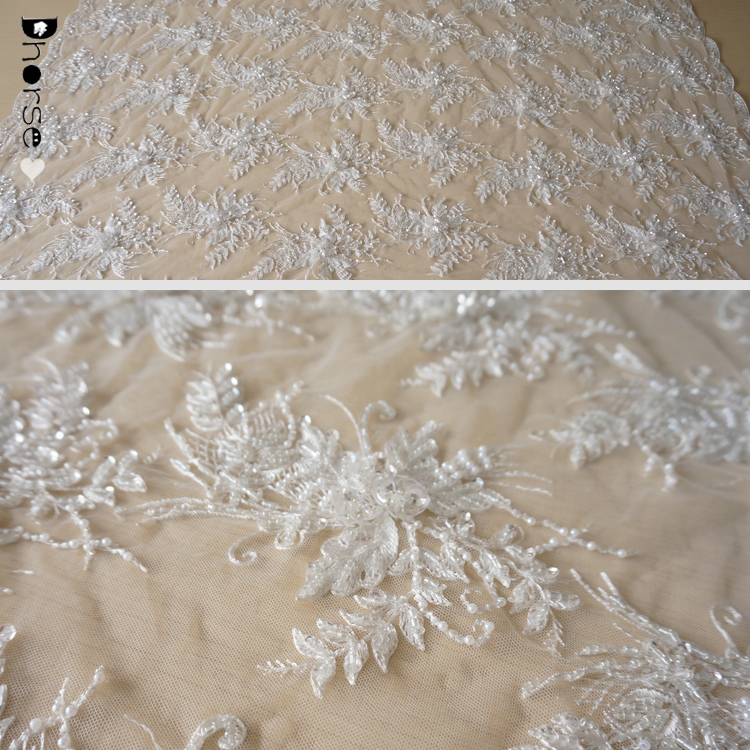 2018 new style heavy beaded white & black fancy embroidered lace fabric for Wedding /Evening dress