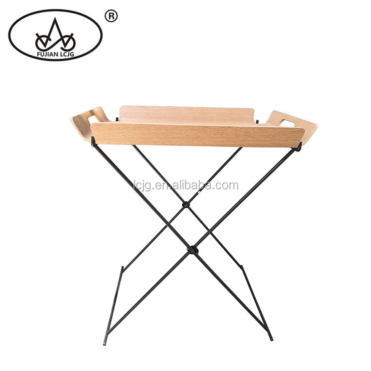 नई प्रकार लोहे के फ्रेम लकड़ी bbq के ट्रे तह साइड टेबल