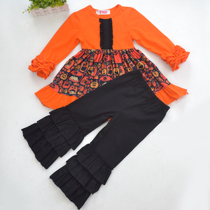 high quality halloween custom design punmkin print baby girl boutique outfits