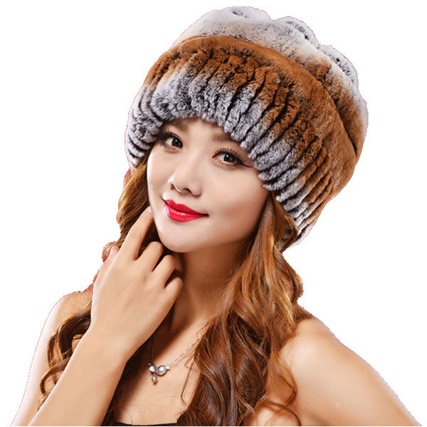 0ba0493163c32 Get Quotations · new Women Fur Hat For Winter Striped Rex Rabbit Elastic  Elegant Casual Fur Cap Genuine Fur