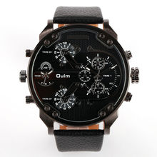 2016 New Arrival Men Top Brand OULM 3548 Luxury Japan movt Quartz 2 Time Zone Casual Watches Relojes Hombre 5.5cm Big Face Watch