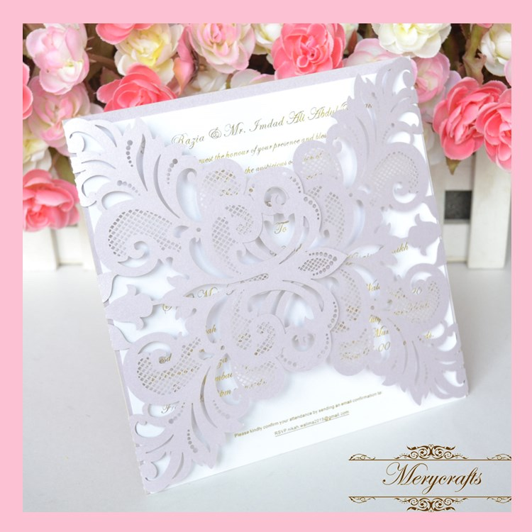 MR014 High Quality 250g Pearl Paper Light Purple Color Wonderful Card Wedding Decoration Laser Cut Invitation Card