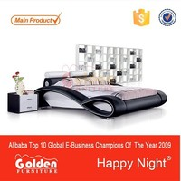 Golden Furniture Gold Supplier leather king size bed black G1048