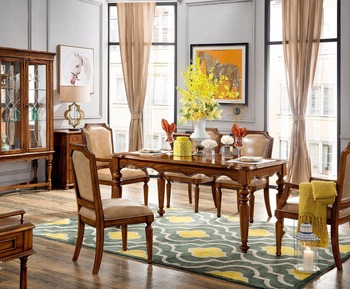 Walnut Color Ash Wood Living Room Furniture Round Solid Wood Dining Table  And Dining Chair