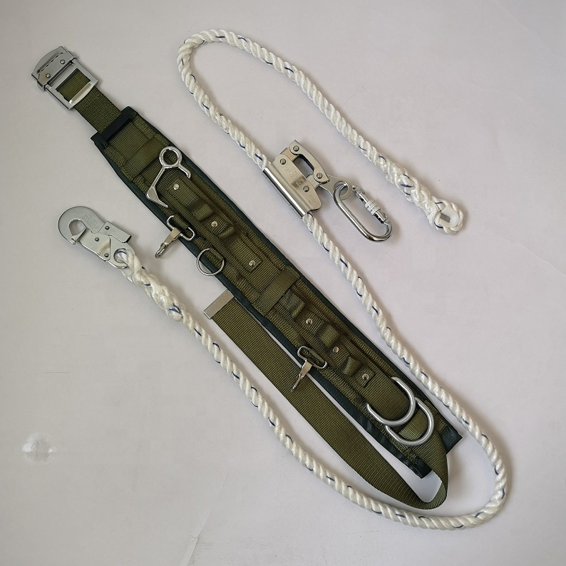 polyester army green lineman safety leather back pad belt with rivet and fall arrester lanyard