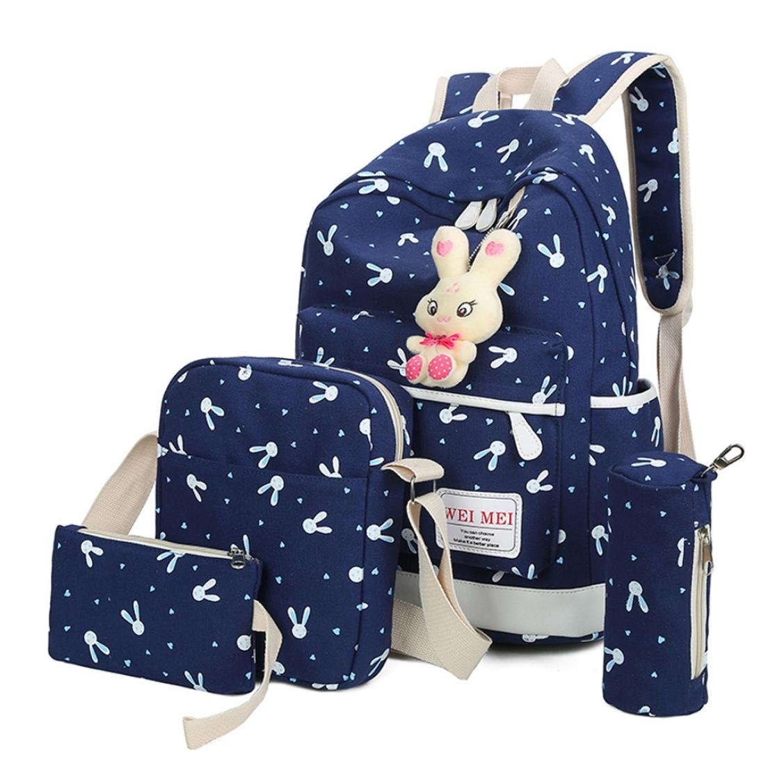 Women Girl Bag 4 Sets,Travel School Backpack+Crossbody Shoulder Bag+Tote Purse Handbag+Pencil Case (blue)